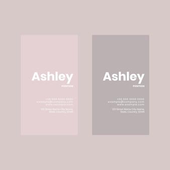Modelo de cartão de visita em flatlay em tons de rosa e cinza