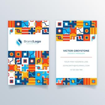 Modelo de cartão de visita em mosaico plano