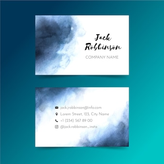 Modelo de cartão de visita em tons de azul mergulhados em tinta