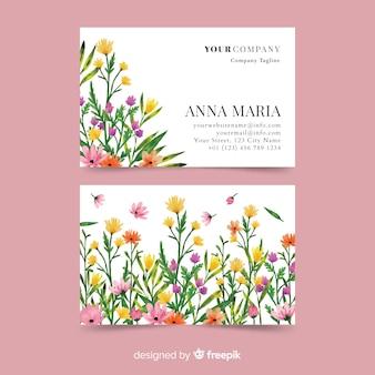 Modelo de cartão de visita floral aquarela