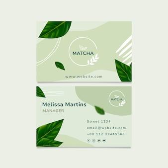 Modelo de cartão de visita frente e verso chá matcha