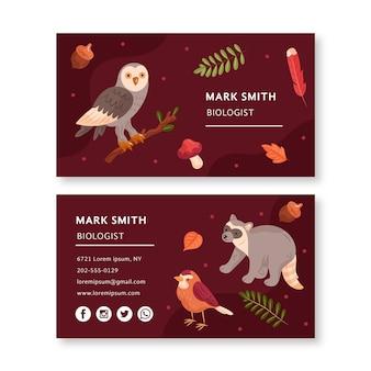 Modelo de cartão de visita frente e verso com animais da floresta
