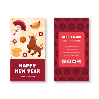 Modelo de cartão de visita frente e verso desenhado à mão para o ano novo chinês
