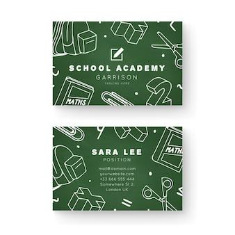 Modelo de cartão de visita frente e verso para academia escolar