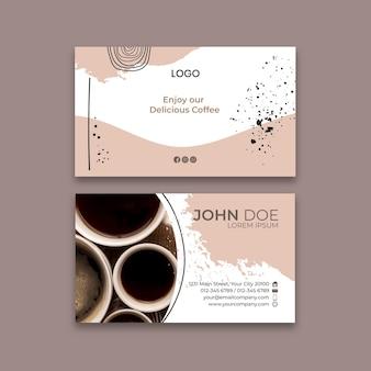Modelo de cartão de visita frente e verso para café