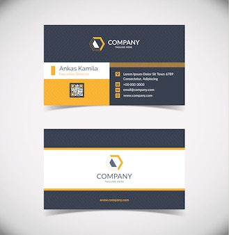 Modelo de cartão de visita geométrico moderno cinza e laranja escuro