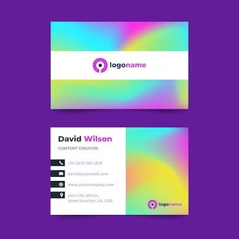 Modelo de cartão de visita gradiente de arco-íris