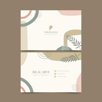 Modelo de cartão de visita horizontal boho plano