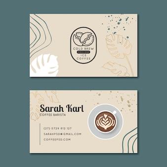 Modelo de cartão de visita horizontal de café Vetor Premium