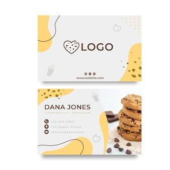 Modelo de cartão de visita horizontal de cookies