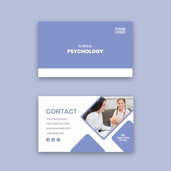 Modelo de cartão de visita horizontal de psicologia clínica