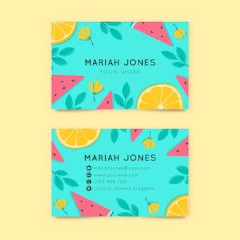 Modelo de cartão de visita horizontal frente e verso com frutas cítricas