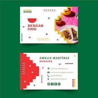 Modelo de cartão de visita horizontal frente e verso de comida mexicana Vetor Premium