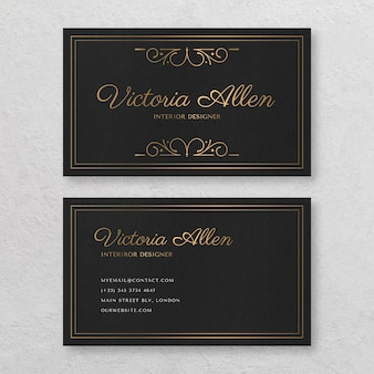 Modelo de cartão de visita horizontal frente e verso ornamental dourado