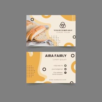 Modelo de cartão de visita horizontal frente e verso pão