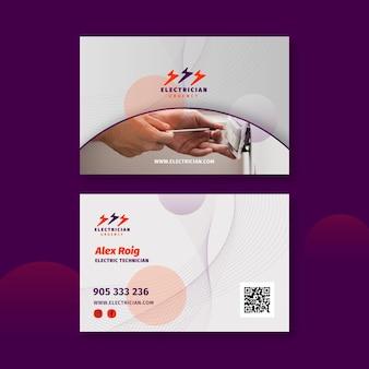 Modelo de cartão de visita horizontal frente e verso para eletricista