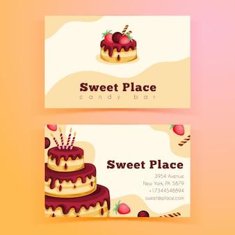 Modelo de cartão de visita horizontal frente e verso para festa de aniversário