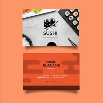 Modelo de cartão de visita horizontal frente e verso para restaurante japonês