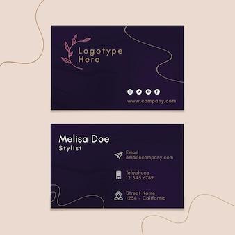 Modelo de cartão de visita horizontal frente e verso para salão de beleza