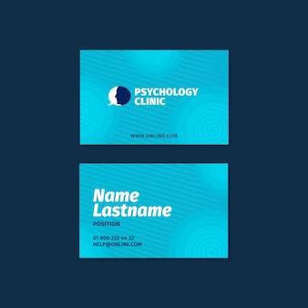 Modelo de cartão de visita horizontal frente e verso para terapia psicológica