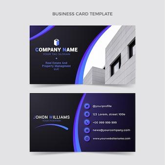 Modelo de cartão de visita horizontal gradiente imobiliário Vetor Premium