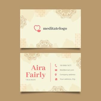 Modelo de cartão de visita horizontal para meditação e atenção plena