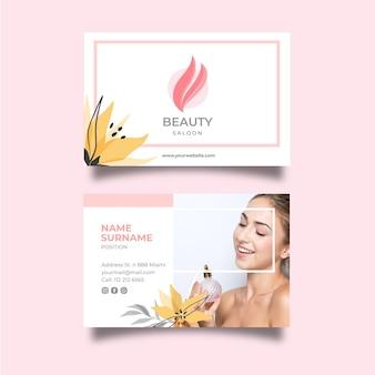 Modelo de cartão de visita horizontal para salão de beleza Vetor Premium