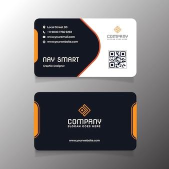 Modelo de cartão de visita laranja com código qr