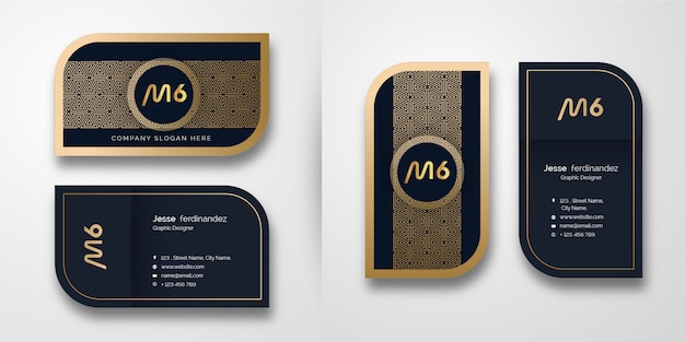 Modelo de cartão-de-visita - luxo abstrato ouro padrão
