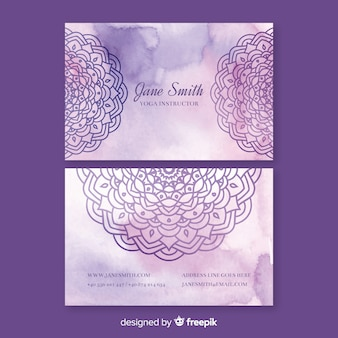 Modelo de cartão-de-visita - mandala violeta em aquarela