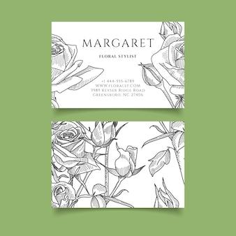 Modelo de cartão de visita - mão desenhada flor