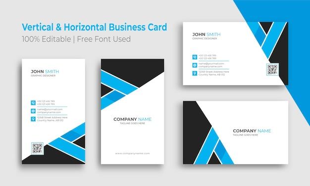 Modelo de cartão de visita minimalista vertical e horizontal