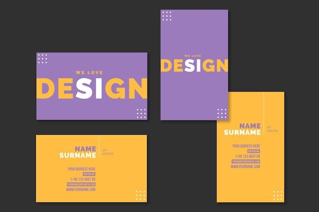 Modelo de cartão de visita mínimo de design