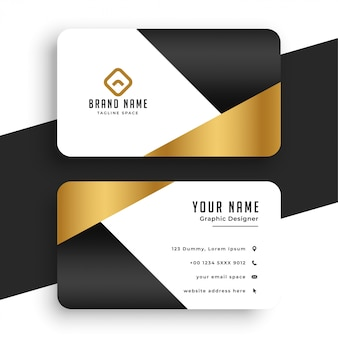 Modelo de cartão de visita mínimo premium dourado