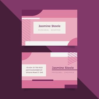 Modelo de cartão de visita mínimo rosa pastel