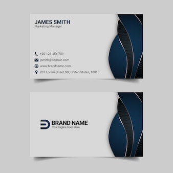 Modelo de cartão de visita moderno azul, design de cartão de visita profissional