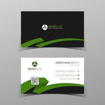 Modelo de cartão de visita moderno, criativo e limpo de vetor verde