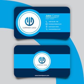 Modelo de cartão de visita moderno em azul escuro