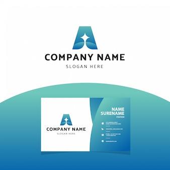 Modelo de cartão-de-visita - moderno profissional letra um logotipo