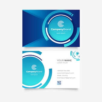 Modelo de cartão de visita monocromático azul