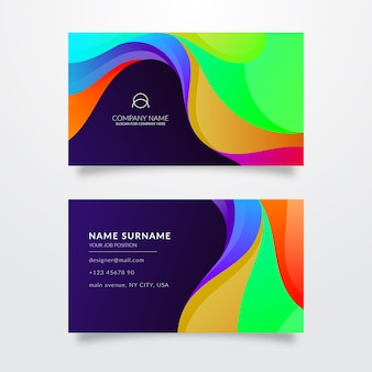 Modelo de cartão de visita multicolorido