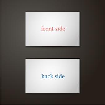 Modelo de cartão de visita na cor branca em um fundo preto ilustração vetorial de dois lados