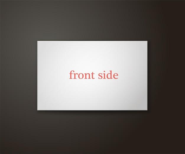 Modelo de cartão de visita na cor branca em um fundo preto. ilustração vetorial