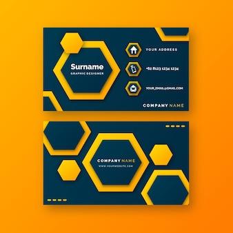 Modelo de cartão de visita neumorfo com hexágonos