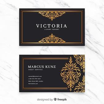 Modelo de cartão de visita ornamental dourado
