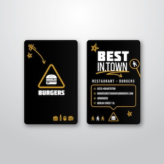 Modelo de cartão de visita para restaurante de hambúrguer