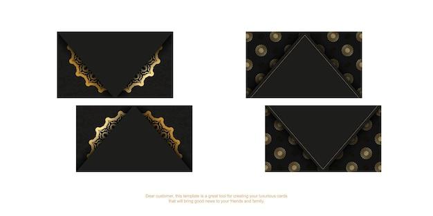 Modelo de cartão de visita preto com ornamento de luxo dourado