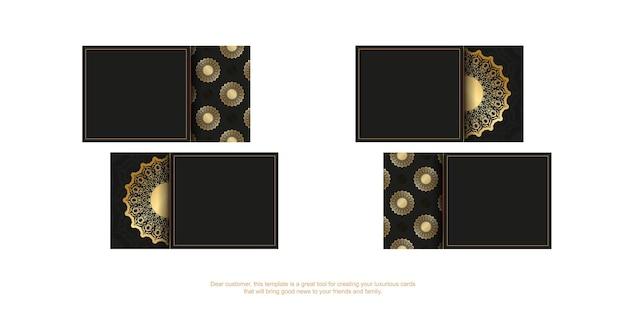 Modelo de cartão de visita preto com ornamento vintage dourado