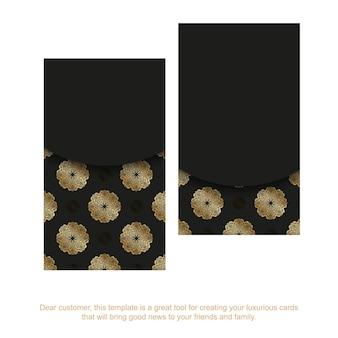 Modelo de cartão de visita preto com padrão abstrato dourado
