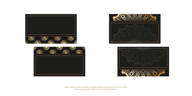Modelo de cartão de visita preto com padrão vintage dourado